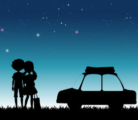 Silhouette couple at night time