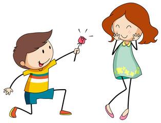 Boy giving flower to girlfriend