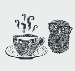 Retro illustration of cute hipster owl.
