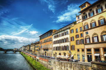 Arno bank seen from Ponte Vecchio in Florence