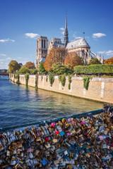 Love lockers on a bridge, Notre Dame de Paris and the river Seine, Paris, France