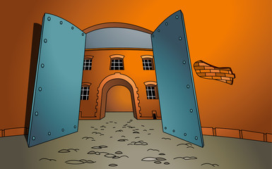 Vector illustration of a open gate with a building in the background. The entrance. Welcome. Cartoon style. Empty space leaves room for design elements or text. Concept. Postcard. Poster. Background.