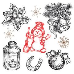 hand drawn set happy new year