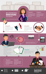 Business infographic template with office workers