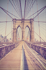 Vintage toned photo of Brooklyn Bridge, NYC, USA.