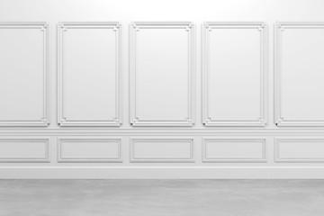 3d render of white classic interior