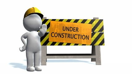 Under construction - barrier and 3D people
