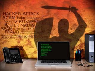 cyber crime of computer hacker that hacking antivirus software and stealing password