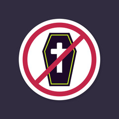 No, Ban or Stop signs. Halloween Coffin icon