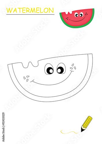 Frutta Divertente Da Colorare Anguria Immagini E Fotografie Royalty
