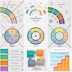 Set 9 templates Infographics cyclic processes four positions