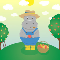 Cute cartoon hippo farmer. Fruit farm harvest time
