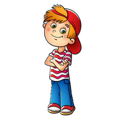 Boy in a red cap and striped t-shirt
