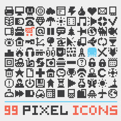 Pixel art web icons vector set