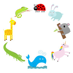 Cute animal frame. Baby background. Ladybug, koala, whale, rabbit, unicorn, alligator, giraffe and iguana. Flat design