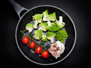Vegetables on fraying pan