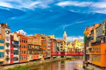 Fotomurales - Colorful houses in Girona, Catalonia, Spain