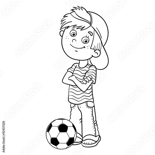 Coloring Page Outline Of A Boy Kicking Soccer Ball Stock Image And Royalty Free Vector Files On Fotolia Pic 93828655