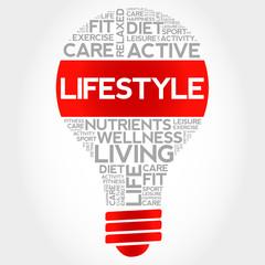 LIFESTYLE bulb word cloud, health concept