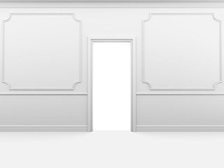 White empty room with skirting on the wall