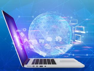 Laptop with image network around globe icon
