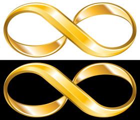 Golden infinity symbol. Infinite wealth concept. Vector design element.