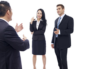 Business people chatting, isolated on white background