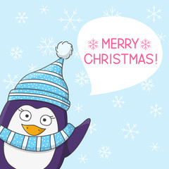 Cute penguin on snow background