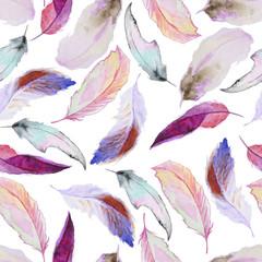 Motif aquarelle avec des plumes