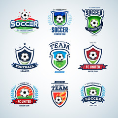 Soccer logo templates mega set. Football logo. Set of soccer football crests and logo template emblem designs, logotypes design concepts of football icons. Collection of Soccer Themed T shirt Graphics