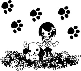 A little girl who takes a walk with a dog in a flower garden.