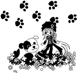 A girl putting on a black hat is with a big dog on a beautiful flower garden.