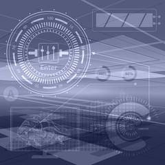 Abstract technology contour objects. Financial business presentation. Light futuristic concept, digital light blue. Raster modern background