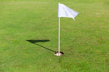 close up of flag mark in hole on golf field