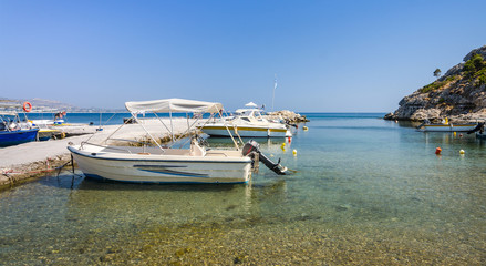 Small motorboats in Greek harbor