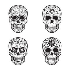Day of the Dead Skulls, Black and White Set, White or Light Background