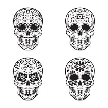 Day of the Dead Skulls, Black and White Set, White or Light Background