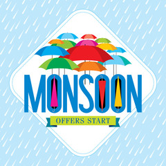 Monsoon offer and sale banner, offer or poster.