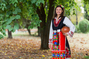 Young girl with bulgarian costume