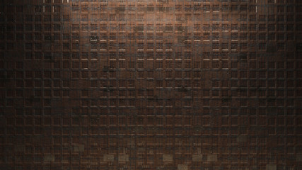 Metal square wall background brown