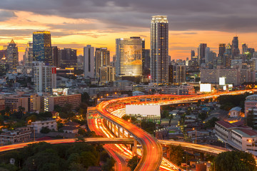 Panoramic building modern business district of Bangkok. S-shaped