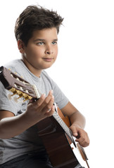 Child with guitar thinking isolated on white background