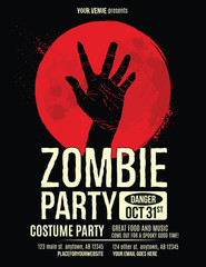 Zombie Party Flyer with Zombie Hand