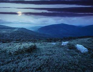 slope with white boulders in mountains at night