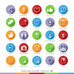Social Media Flat Icons Set 01