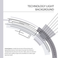 Abstract technology contour object. Light futuristic concept, di