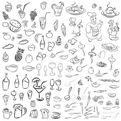 Vector set of crockery, cutlery, wine glasses, fruit, desserts,