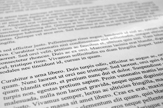 Lorem Ipsum paragraphs of text type