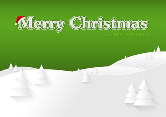 Green Christmas Greeting Card and Snowy Landscape - Illustration, Vector