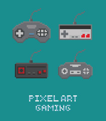 Vector pixel art illustration - retro gamepads set isolated